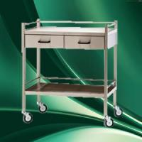 China two drawers stainless steel hospital crash cart medical equipment trolley on sale