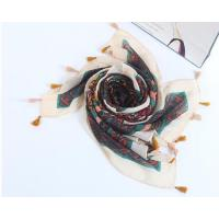 China Black and White Winter Long Floral Printing Warm Linen Shawl and Scarves with Tassels for Women on sale