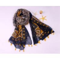 Buy cheap Women Summer Floral Printing Red White and Blue Cotton Oversized Scarf for Beach and Daily Suncover from wholesalers