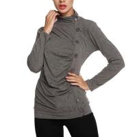 Tops & Tees Women's Long Sleeve Button Embellished High Neck Tops