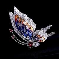 Buy cheap China fashion jewelry animal colorful silver enamel butterfly brooch from wholesalers