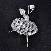 Quality Ballet dancing girl AAA cubic zirconia diamond pin brooch for sale