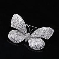 Buy cheap Bling AAA cubic zirconia paved brass insect butterfly brooch pin from wholesalers