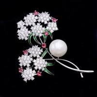 Quality Bling cubic zirconia pearl flower brooches and pins for sale