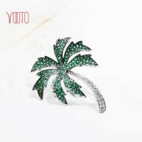 Quality Bling jewelry beach cubic zirconia coconut palm tree brooch for sale