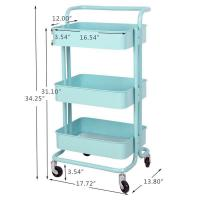 Quality 3 Tier Rolling Metal Shelving Utility Storage Cart with Wheels, Organizer Trolley for sale