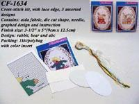 China Cross-stitch kit, with lace edge, 3 assorted designs on sale