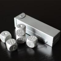 China 5 in1 Aluminum Alloy Silver Engrave Solid Metal Dice Set on sale