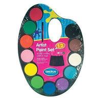 Quality Kids Childrens Watercolour Paint Set Palette 12 Colours With Brush Art & Craft by Spectrum for sale