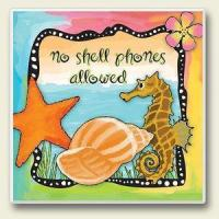 """Quality Decor - Tropical Seahorse Single Absorbent Coaster """"No Shell Phones Allowed"""" - 02-057 for sale"""