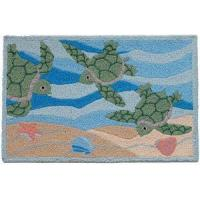 Quality Decor - Tropical Sea Turtles Rug Indoor Outdoor Washable JB-PB002 for sale