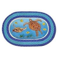 Quality Decor - Tropical Sea Turtle 20x30 Hand Printed Oval Braided Floor Rug OP-384 for sale