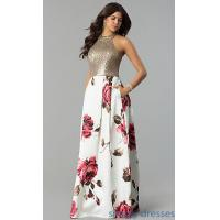 Quality Sequined-Bodice Satin Floral-Print Long Prom Dress MCR-2340 for sale