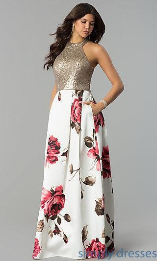 China Sequined-Bodice Satin Floral-Print Long Prom Dress MCR-2340