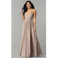 Buy cheap Metallic-Crepe Deep-V-Neck Long Formal Prom Dress LUX-LD4206 from wholesalers