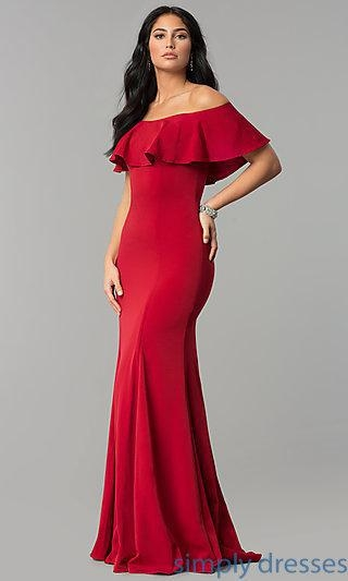 China Off-the-Shoulder Long Fitted Flounce Prom Dress DQ-2348