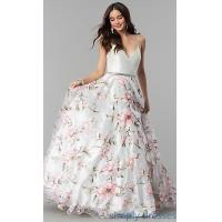 Quality Deep V-Neck Floral Print Long Prom Dress MF-E2449 for sale