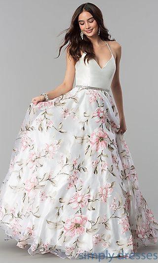 China Deep V-Neck Floral Print Long Prom Dress MF-E2449
