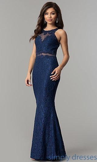 China Mock-Two-Piece Lace Long Prom Dress in Navy Blue LP-PL-27348