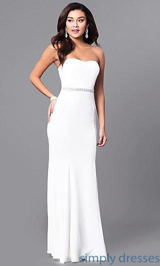 China Long Strapless Ivory White Prom Dress with Jewels SY-ID4129VP