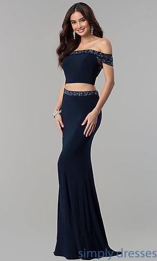 China Two-Piece Long Prom Off-the-Shoulder Dress MF-E2317