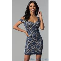 Quality Navy Cold-Shoulder Short Lace Party Dress EM-FWE-1446-416 for sale