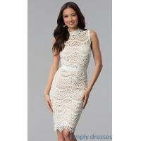 Quality Knee-Length High-Neck Crocheted Lace Graduation Dress JTM-JMD7752 for sale