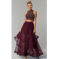 China Tiered-Tulle Two-Piece Burgundy Red Long Prom Dress BN-BLN133 on sale