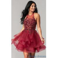 Quality High Halter Homecoming Dress with Short Tulle Skirt NA-6359 for sale