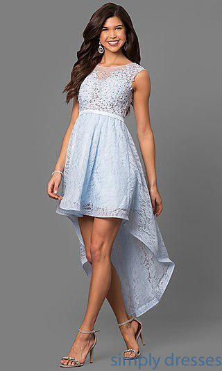 China Lace Semi-Formal Party Dress with High-Low Skirt MT-8445