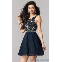 Quality Empire Waist Navy Blue Lace Homecoming Dress KC-17501 for sale