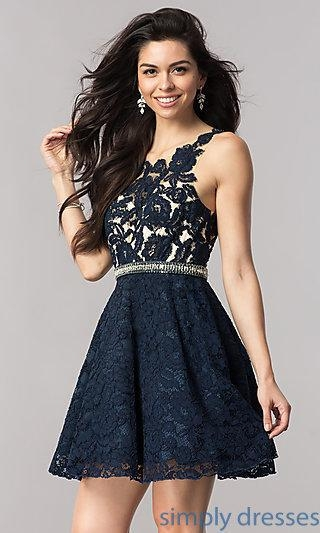 China Empire Waist Navy Blue Lace Homecoming Dress KC-17501