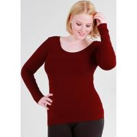 China Clothing Basic Fitted Top with Long Sleeves in Burgundy on sale