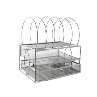 China Mesh Desktop File Organizer with Double Tray and 5 Stackable Upright Sorter on sale