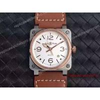 Quality Swiss Quality Replica Bell & Ross Watch 42mm BR 03-92 2-Tone Brown Leather for sale