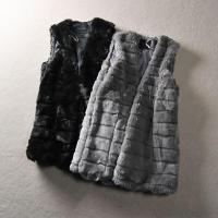 China Relaxed Clothing Fit Soft And Long Women Vest Craft In Grey Black And Fur Tonal Faux Fur on sale