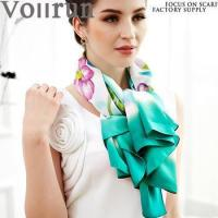 China Wholesale Green and White Hand Painted Satin Silk Foulard es on sale
