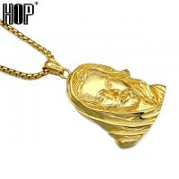 China Pendant Necklaces JESUS Christ Head Face Pendants Necklaces on sale
