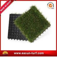 Quality 25mm Height Interlocking Artificial Grass Tiles for Floor Mat for sale
