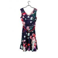 China Ladies' Pure Cotton V-neck Flared Mini Dress In Colorful Floral With Belt on sale