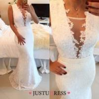 Buy cheap Trumpet/Mermaid Deep V Neck Sweep Train White Lace Prom Dresses With Applique Beading from wholesalers