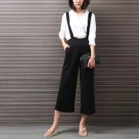 China Black Overalls Trouser For Women High Waist Palazzo Pants Women Casual Capri Pants on sale