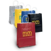 Buy Amber Gloss Foil Hot Stamp Logo Shopping Paper Bags at wholesale prices