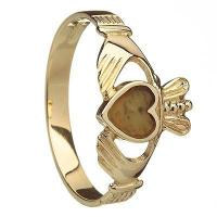China 14k Yellow Gold Connemara Marble Heart Ladies Claddagh Ring 10mm on sale