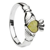 China Sterling Silver Connemara Marble Ladies Claddagh Ring on sale