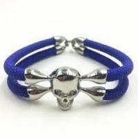 Buy cheap Luxury Blue Super Fiber Stingray Bracelet Platinum Plated Silver Color Skull White CZ Bead Stone from wholesalers