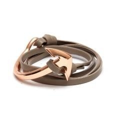 China Tom Hope New Arrival Fashion Jewelry Real Cowhide Leather Bracelet Men Half Bend Anchor Bracelet