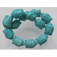 Turquoise Magnesite Hand Carved Buddha Beads 28mm