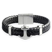 Quality High Quality Fashion Stainless Steel Jewelry Engraved Leather Black Anchor Bracelet Meaning for sale