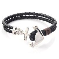 Quality Logo Custom Wholesale Nautical Navy Leather Rope Stainless Steel Black Anchor Charm Bracelet For Men for sale